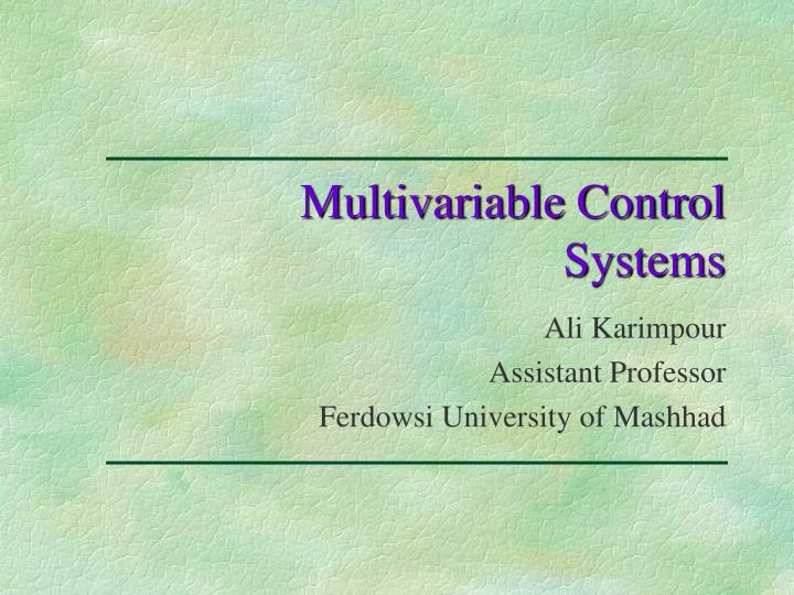 multivariable control systems n.