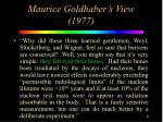maurice goldhaber s view 1977