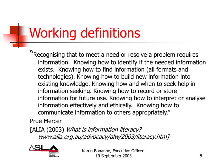 Working definitions