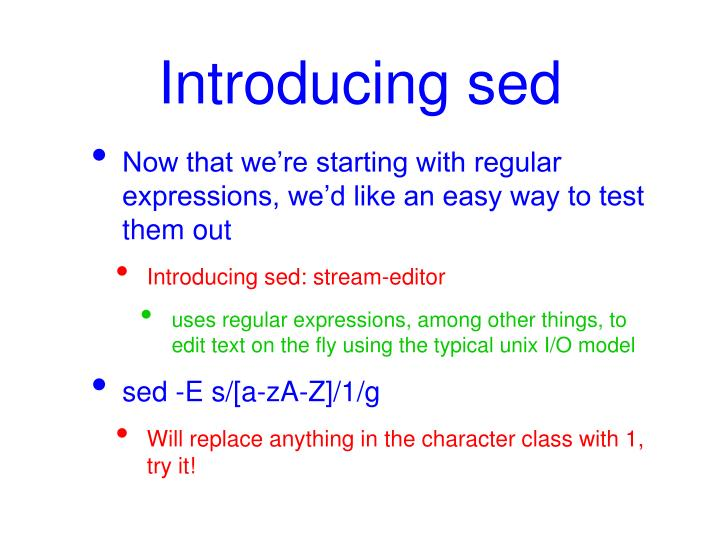 Introducing sed