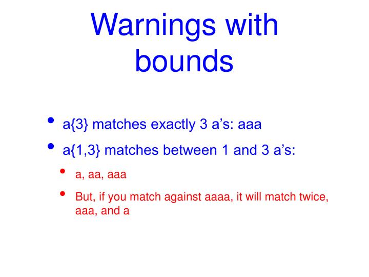 Warnings with bounds