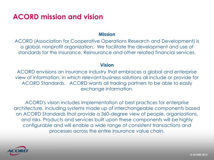 Acord mission and vision