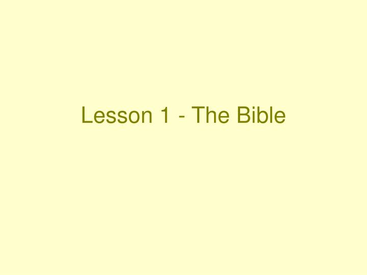 lesson 1 the bible n.