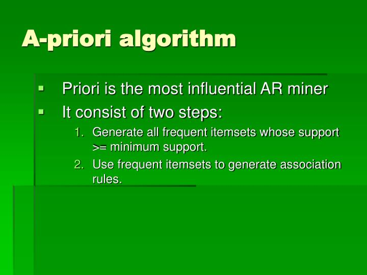 A-priori algorithm