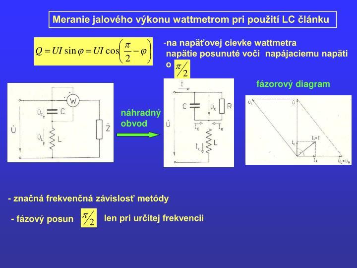 Meranie jalového výkonu wattmetrom pri použití LC článku