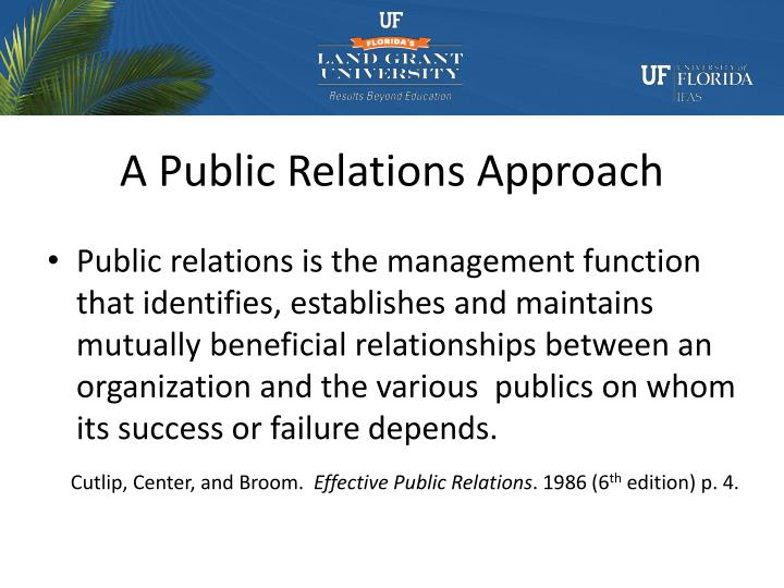 A Public Relations Approach