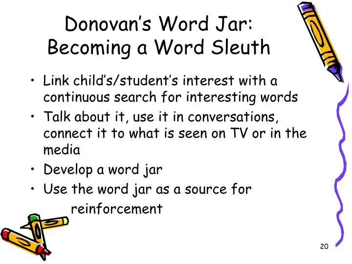 Donovan's Word Jar: Becoming a Word Sleuth
