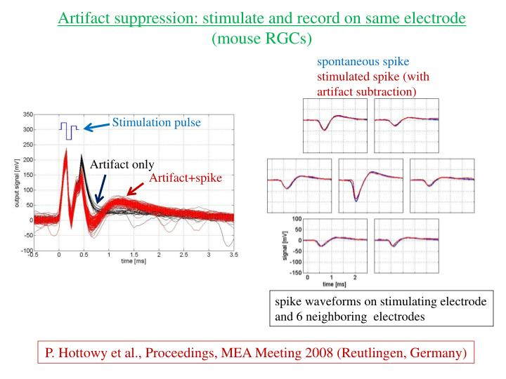 Artifact suppression: stimulate and record on same electrode