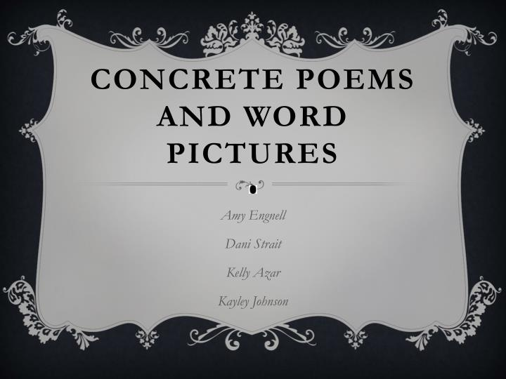 concrete poems and word pictures n.