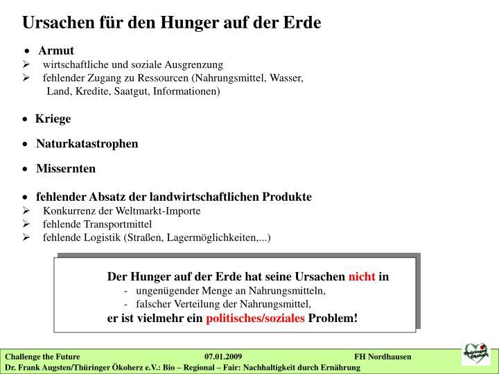 Ursachen für den Hunger auf der Erde