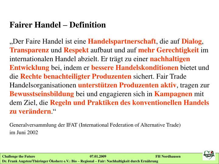 Fairer Handel – Definition