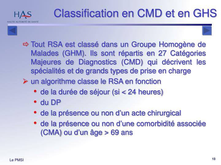 Classification en CMD et en GHS