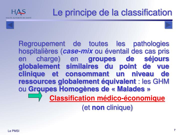 Le principe de la classification