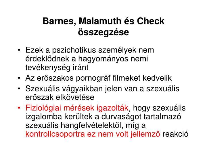 Barnes, Malamuth és Check összegzése