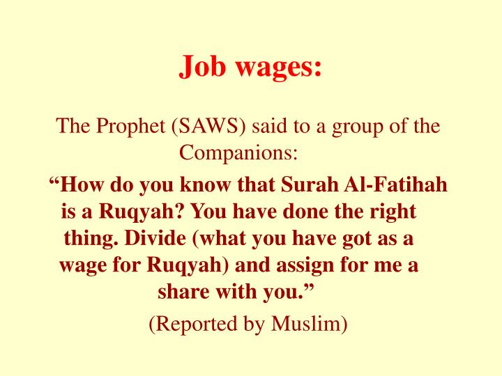 Job wages:
