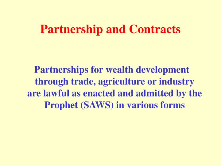 Partnership and contracts