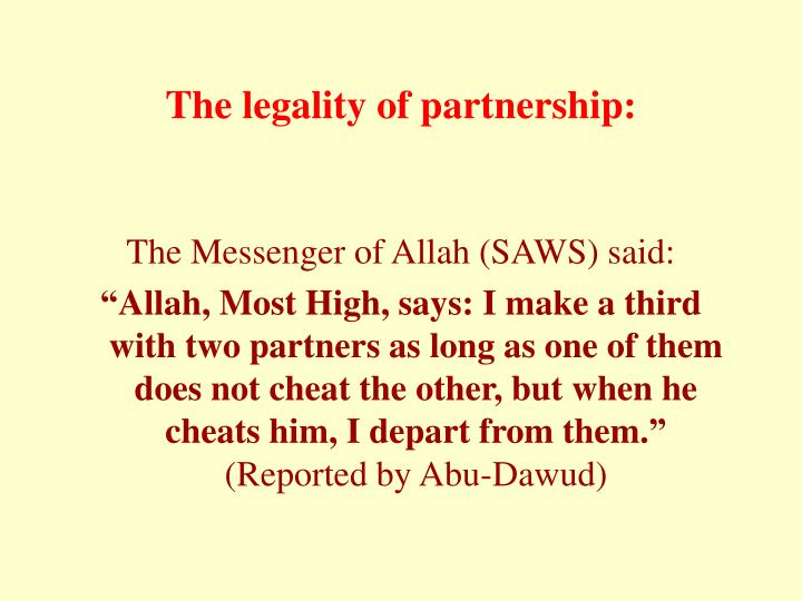 The legality of partnership: