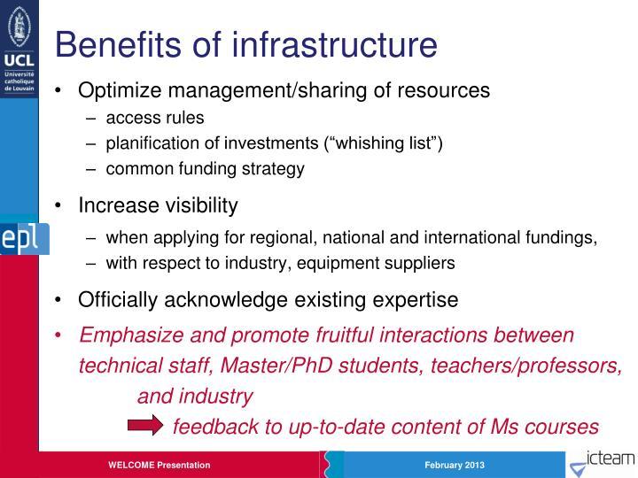 Benefits of infrastructure