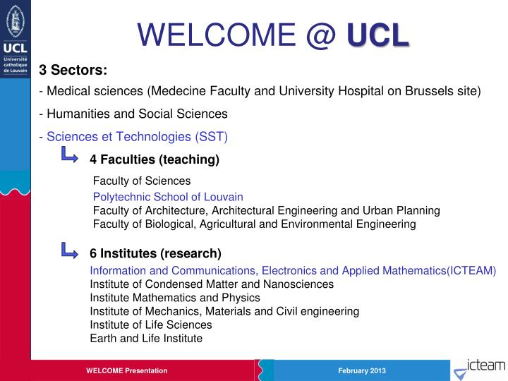 Welcome @ ucl