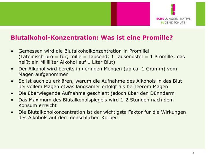 Blutalkohol-Konzentration: Was ist eine Promille?