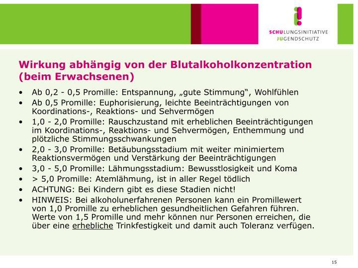 Wirkung abhängig von der Blutalkoholkonzentration (beim Erwachsenen)