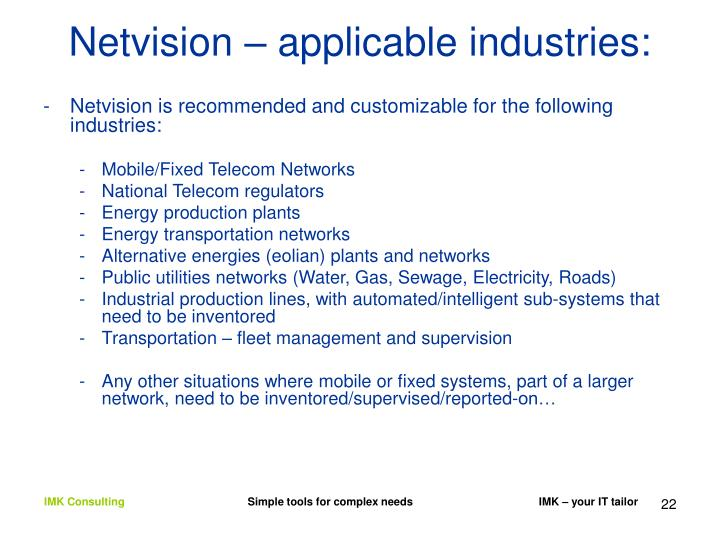 Netvision – applicable industries: