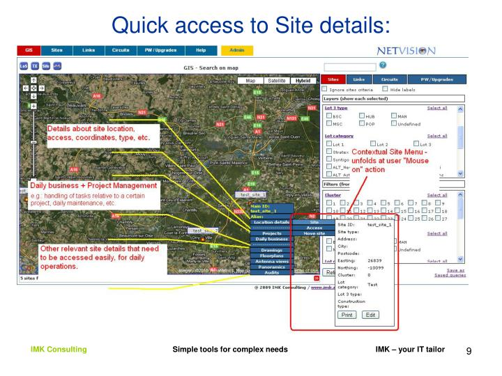 Quick access to Site details: