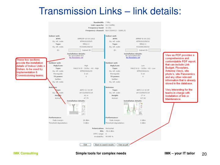 Transmission Links – link details: