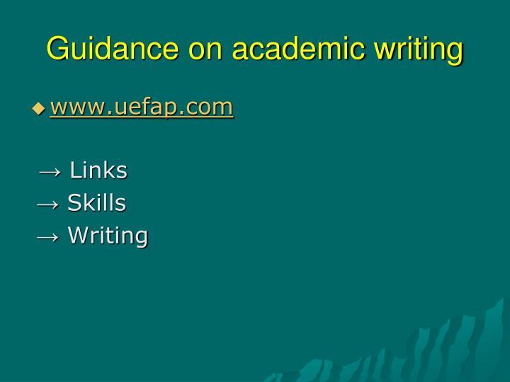 Guidance on academic writing
