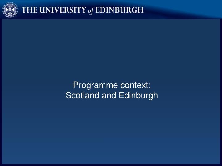 Programme context: