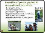 benefits of participation in recreational activities