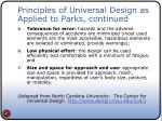 principles of universal design as applied to parks continued