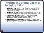 principles of universal design as applied to parks