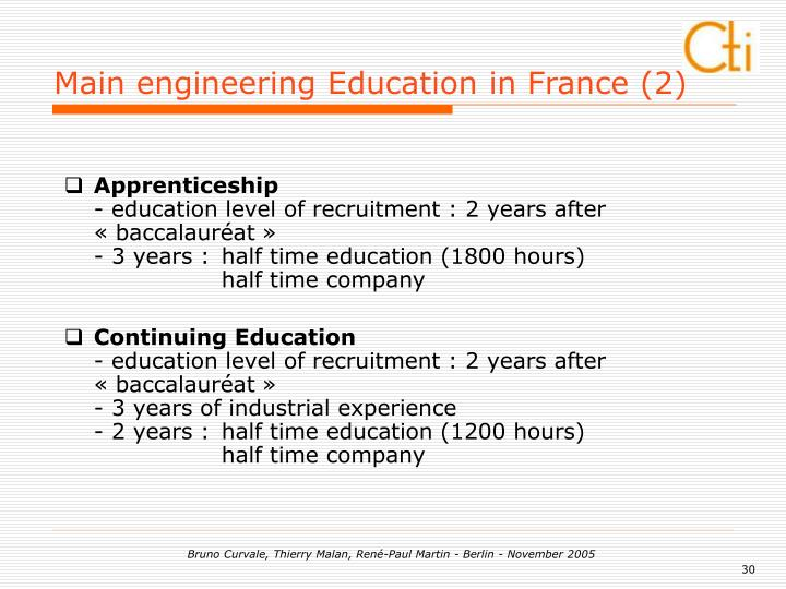 Main engineering Education in France (2)
