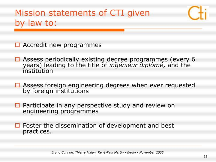 Mission statements of CTI given