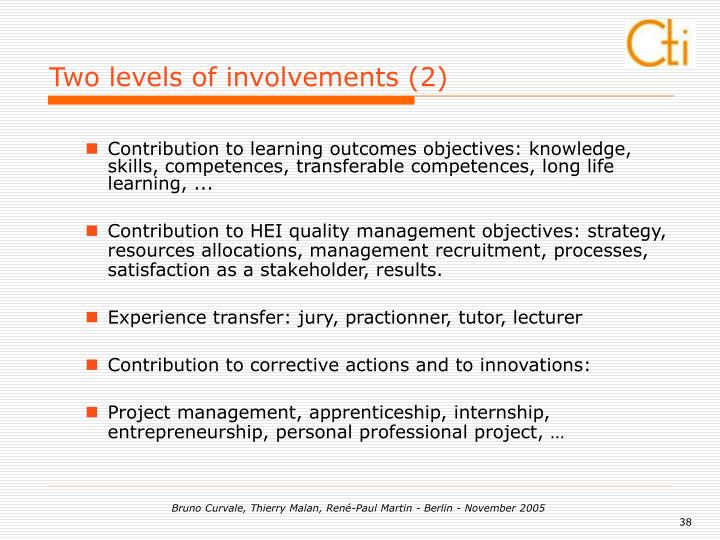 Two levels of involvements (2)