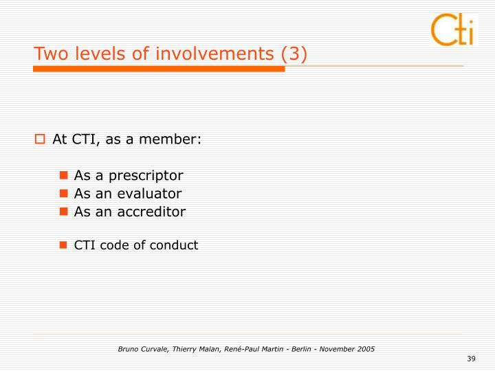 Two levels of involvements (3)