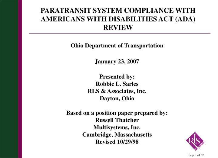 paratransit system compliance with americans with disabilities act ada review n.