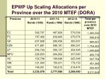 epwp up scaling allocations per province over the 2010 mtef dora