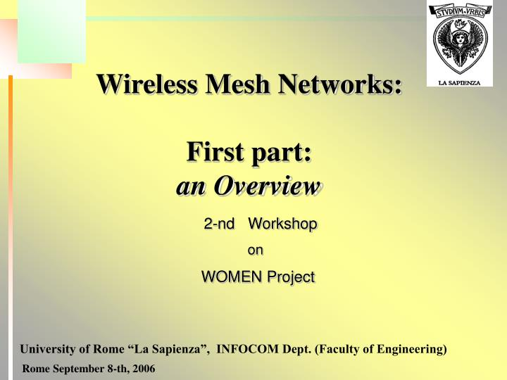 wireless mesh networks first part an overview n.