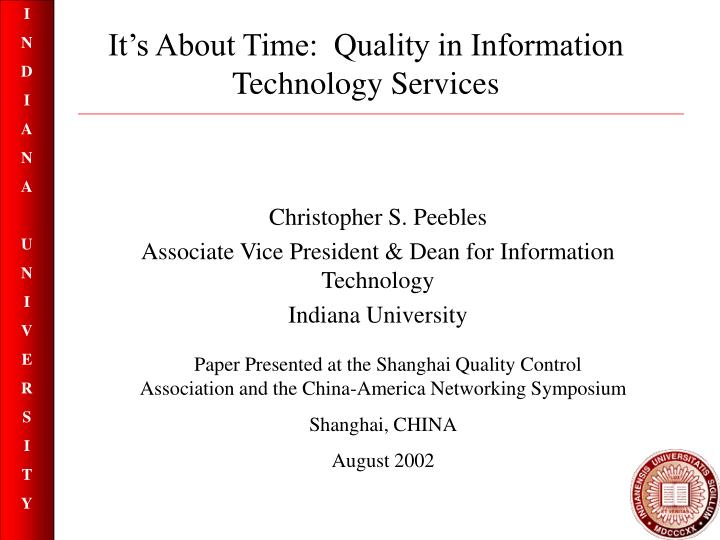 it s about time quality in information technology services n.