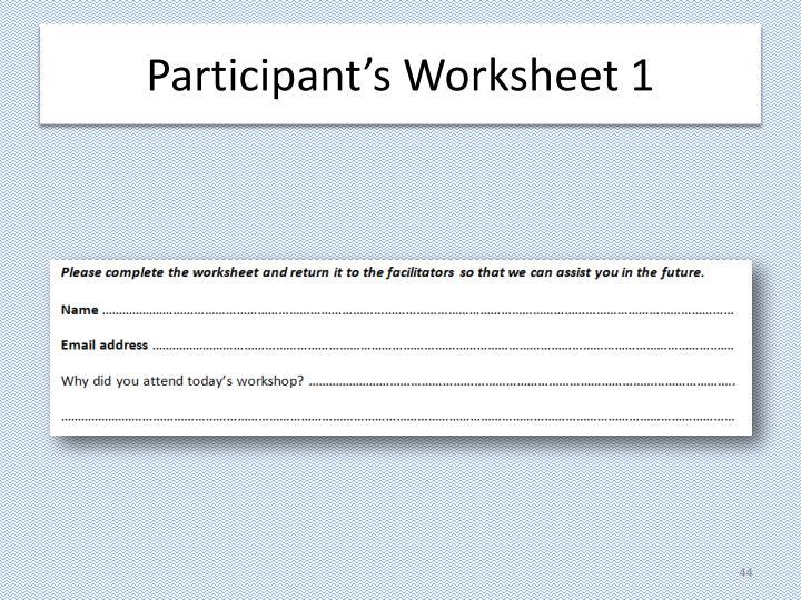 Participant's Worksheet 1