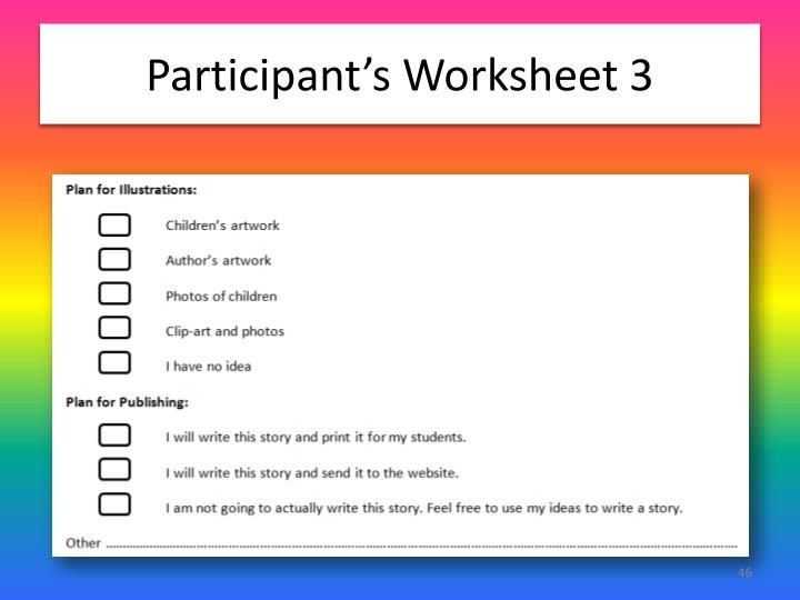 Participant's Worksheet 3
