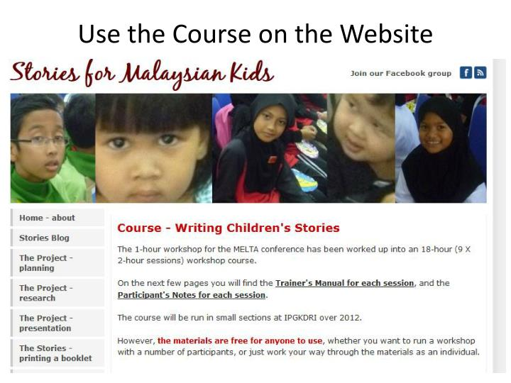 Use the Course on the Website