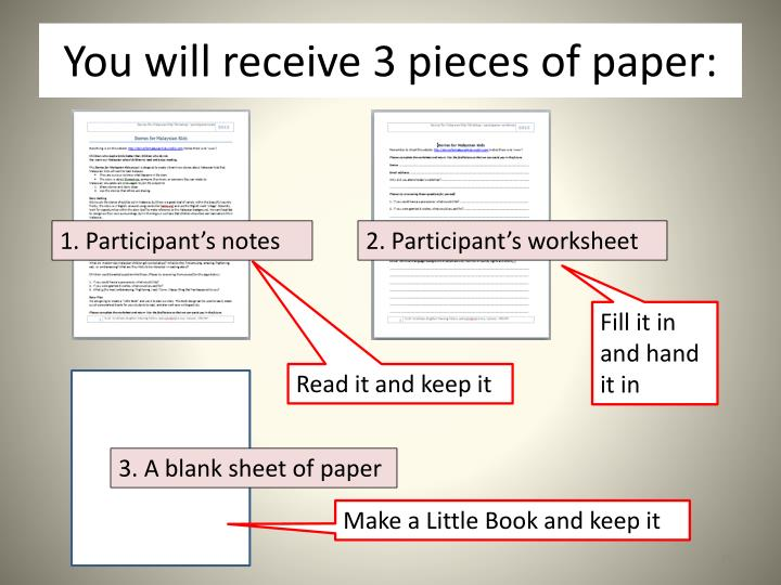 You will receive 3 pieces of paper: