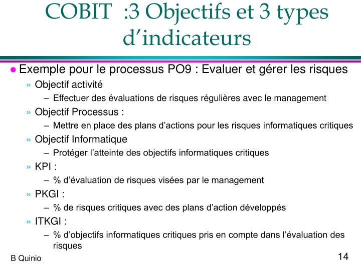 COBIT  :3 Objectifs et 3 types d'indicateurs