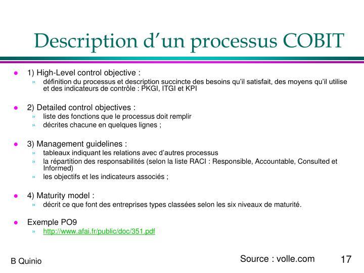 Description d'un processus COBIT