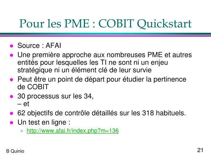 Pour les PME : COBIT Quickstart