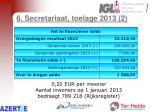 6 secretariaat toelage 2013 2