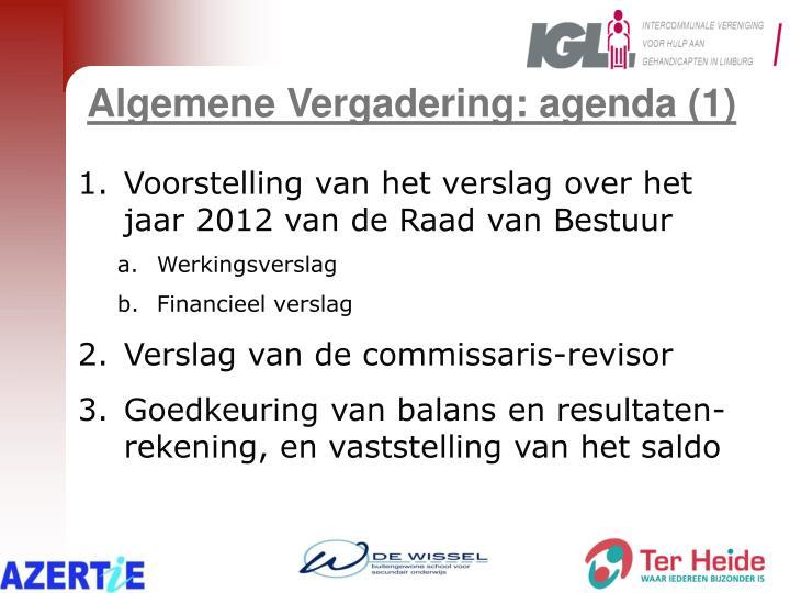Algemene Vergadering: agenda (1)